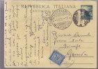 $-355- Bagheria - Intero Postale Democratica Lire 15 Usato Fermo Posta Diritto Pagato In Arrivo - 6. 1946-.. Repubblica