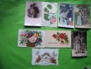 Lot De 8 Cartes Fantaisie-& Autres-?0.487-?7493-?4126-a S 966-decoupi Colombe Et Roses-violette-muguet Roses - Ansichtskarten