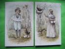 Lot De 2 Cartes Fantaisie--& Autres  A & M.b. N°382 -lapin-poule-fillette-oeuf-garconnet- - Cartoline