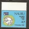 NAURU - 1987 WORLD POST DAY SET OF 1 MNH ** (TOP MARGINAL)     SG 353 - Nauru