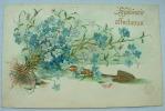 Carte Gauffrée Souvenir Affectueux Fleurs Bleues - Fêtes - Voeux