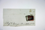 UK: One Penny Brown Unperforated, Corners C + G,  Part Of Folded Letter 1851 - 1840-1901 (Victoria)