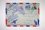 Ned. Indie. First Flight K.N.I.L.M. Java->Australia, Sydney, With Sydney Cancel At Back - Niederländisch-Indien