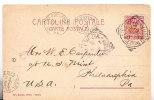 T)1905,CIRC.POSTAL CARD ITALY TO USA,VICTOR EMMANUEL III,10c.- - 1900-44 Vittorio Emanuele III