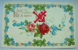 Carte Gauffrée Roses Et Ancre Collée La Fleur Est L'embleme Du Souvenir - Fantaisies
