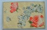 Carte épaisse Avec Des Fleurs En Velour Collées Roses Et Bleues - Fantaisies