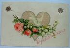 Carte Chromo Collé Coeur Colombe Rose Muguet Je Pense à Vous - Fantaisies