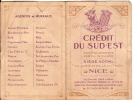 Calendrier Deux Volets/Crédit Du Sud-Est/NICE/1929                   CAL37 - Non Classés