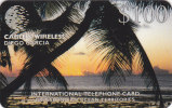 Diego-Garcia, DGA-12, Sunset And Palm Tree $100, 2 Scans. - Diego-Garcia