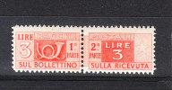 Italia   -   1946.  Pacchi Postali 3 £.  Fil. Ruota, MNH - Colis-postaux
