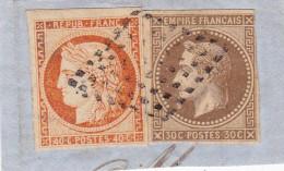 COLONIES - TYPE CERES + EMPIRE - YVERT N° 9 + 13 Sur FRAGMENT - SUPERBE - Napoleon III