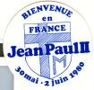 Autocollant - Bienvenue Pape Jean-Paul II 1980 - Religion Catholique - Religion & Esotericism