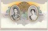 Japan Royalty, Emperor Hirohito & Empress Kojun, Showa Era, Great Graphic Design, C1920s Vintage Embossed Postcard - Royal Families