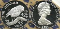 NEW ZEALAND $1 DOLLAR ROBIN BIRD FRONT QEII HEAD BACK 1984 AG SILVER PROOF KM? READ DESCRIPTION CAREFULLY !!! - Nouvelle-Zélande