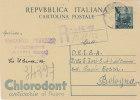 """ACRI /  BOLOGNA - 5.12.1952 - Card_Cartolina Pubbl.  """" CHLORODONT - Insegnante V. FERRARO  """"  Lire 20 - 1946-60: Marcofilia"""