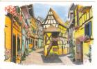 Eguisheim. Dessin De Maisons à Colombages, Vieille Rue Typique. Aquarelle Signée I.Guérard - Autres Communes