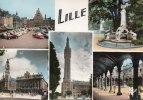 59] Nord > LILLE - Multi Vues ( Auto Voiture Beffroi Quinquin Bourse ) (Année:1961)* PRIX FIXE - Lille