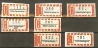 R-Zettel 5-stellige PLZ Nassklebend, 72xxx FREUDENSTADT, ALBSTADT, SIGMARINGEN DORF, AICHTAL, REUTLINGEN - BRD