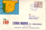 PORTUGAL-VOL LISBOA-MADRID 25e ANNIVERSAIRE - DU 19-9-1971. - Poste Aérienne