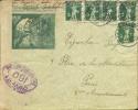 5 X 5 Rp Suisse Sur Enveloppe D'un Interné Français Interlaken Vers Paris + Censure. - Marcophilie (Lettres)