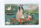"""OISEAUX - Jolie Carte Fantaisie Gaufrée Fleurs  Oiseaux Et Bateau  """"Bonne Et Heureuse Fête"""" (embossed Postcard) - Vögel"""