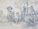 Dessin Crayon Papier/ Scéne Champêtre/Pêche à L´écluse/Vers 1870-80       GRAV16 - Estampas & Grabados