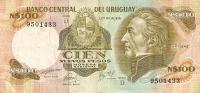 BILLETE DE URUGUAY DE 100 NUEVOS PESOS  (BANKNOTE) - Uruguay
