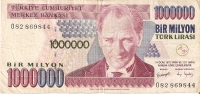 BILLETE DE TURQUIA DE 1000000 LIRASI DEL AÑO 1970 (BANKNOTE) - Turquia