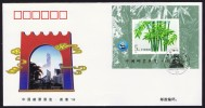 1996  Hong Kong '96 Stamp Exhibition Overprint On Bamboo Souvenir Sheet FDC - 1949 - ... People's Republic