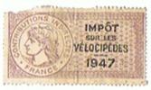 TIMBRES FISCAUX MILLESIMES IMPOT SUR LES VELOCIPEDES  1947 - Transports