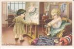 Deux Enfants. Artiste Peintre Et Son Chevalet. Modèle Enfilant Ses Bas. Signé Bertiglia - Bertiglia, A.