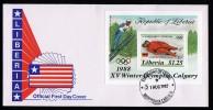 Liberia Fdc S/Sheet Olympics 1988 Calgary.. - Hiver 1988: Calgary
