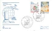IL SACRIFICIO DEGLI AVIATORI ITALIANI   A KINDU, ANNO MONDIALE DELLA PACE,  PISA  1986, ANNULLO FIGURATO SU BUSTA DEDICA - 6. 1946-.. Repubblica