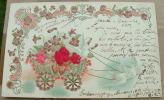 Carte Gauffrée Deux Colombes Tire Un Char De Fleurs - Tarjetas De Fantasía