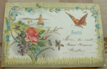 Carte Gauffrée Amitié Fleur Papillon Voiliers - Tarjetas De Fantasía