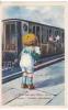 Petite Fille Dans Un Train Agite Son Mouchoir. Petit Garçon Pleure Sur Le Quai. - Bertiglia, A.