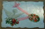 Carte Découpée Je Pense à Vous - Colombe Portant Une Rose Chromo Contrecollée - Fantaisies