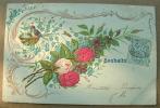 Carte Gauffrée Bouquet De Roses Souhaits - Tarjetas De Fantasía