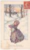 Bonne Année. Petite Fille Bras Chargés De Cadeaux à L´orée De La Forêt.  Signée Bertiglia. - Bertiglia, A.