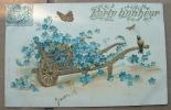 Carte Gauffrée Brouette Dorée De Fleurs Bleues - Porte Bonheur- Papillon - Autres