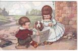 """""""La Littérature"""". Couple D´enfants Apprend à Lire à Un Chien.  Signée Bertiglia. - Bertiglia, A."""