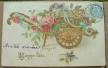 Carte Gauffrée Charette De Fleurs Bonne Fete - Fantasia