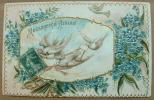 Carte Gauffrée MESSAGER D'AMOUR 3 Tourterelles - Tarjetas De Fantasía