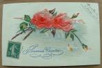 Carte Avec Fleur En Relief Deux Roses Souvenir D'amitié - Fantaisies