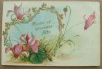 Carte Gauffrée Coeur Dorée Fleurs Violettes Bonne Et Heureuse Fete - Phantasie