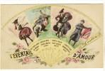 Carte Postale Ancienne Fantaisie - L'Eventail D'Amour - Langage Du Vent - Phantasie