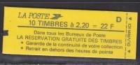 = Type Liberté De Delacroix 2.20 Rouge Carnet  X 10 N°2376-C10 1 Cavalier Recto Et 1 Cavalier Verso - Usage Courant