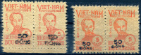 NORTH VIETNAM 1956 Ovpt 50 Dong On 5d. - Sc.50 (Mi.53 I+II, Yv.62) Two Types MNG (as Issued) VF - Vietnam
