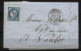 """Colonies YT 23 Sur Lettre """" Cérès 25c. Bleu Non Dentelé """"  1872-77  Losange GC 2084  Curiosité - Cérès"""
