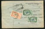 =*= Merson 143x2+145 + Cachet De Papier Timbré (rare) Bulletin Colis Strasbourg>>>>Alger Via Marseille 20 2 1924 =*= - Cartas